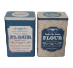 Set of 2 Flour Storage Tins Vintage Style Containers