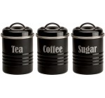 Typhoon Vintage Kitchen Black Tea, Coffee, Sugar 3-Piece Tin Set