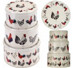 Ulster Weavers Set of 3 Cake or Biscuit Tins with Rooster / Chicken Design