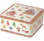 Square Gingerbread Village Christmas Design Cookie Tin