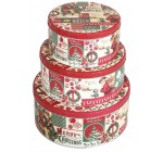 Vintage Christmas Storage Biscuit Cookie Tins, Set of 3