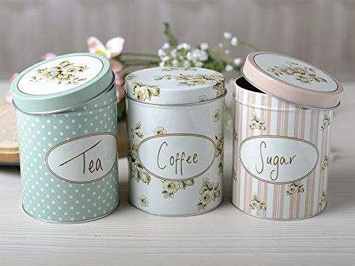 Creative Tops Katie Alice Cottage Flower Coffee, Tea, Sugar Storage Tins, Set of 3