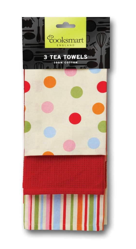 Cooksmart Tea Towels with Spot Design, Pack of 3