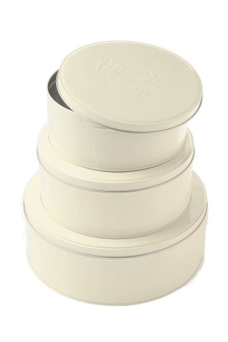 Nigella Lawson Living Kitchen Cake or Biscuit Tin, Set of 3, Cream