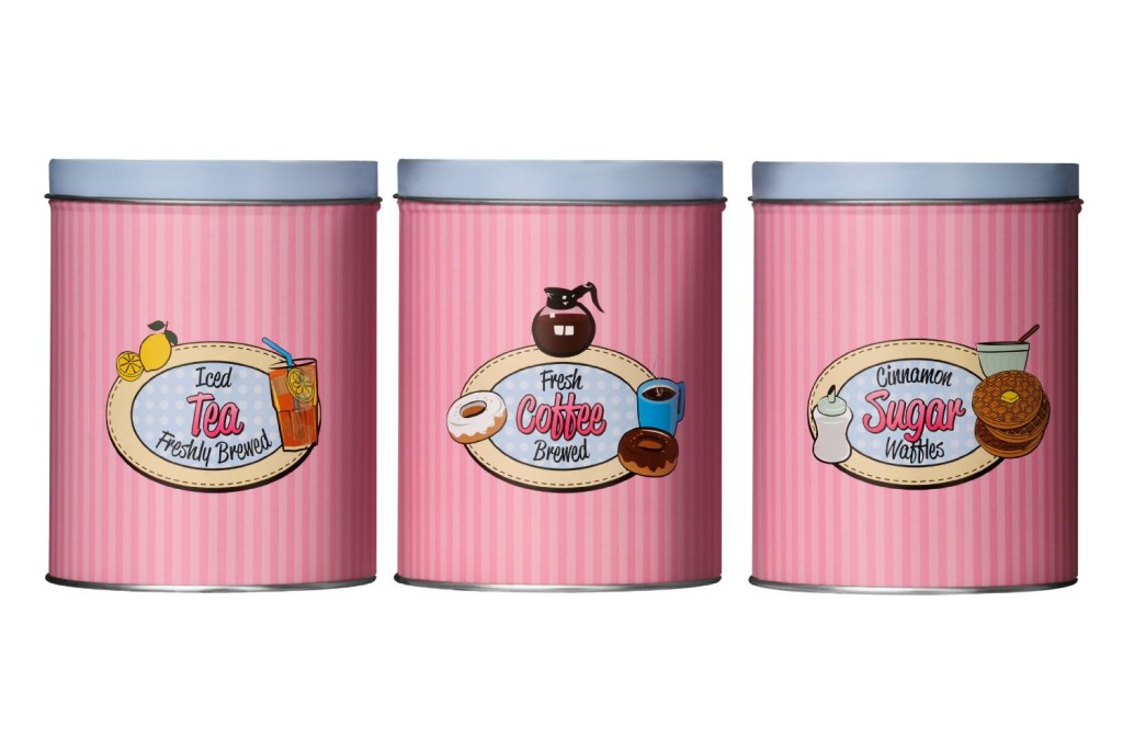 Premier Housewares Candy Stripe Tea, Coffee and Sugar Canisters
