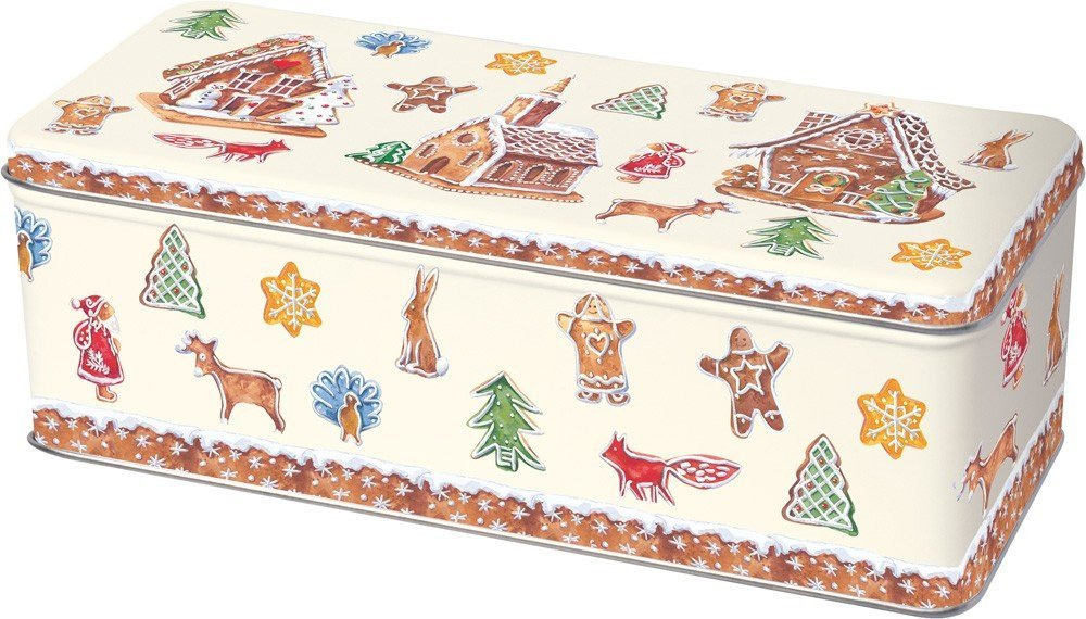 Rectangular Gingerbread Village Christmas Design Biscuit Tin